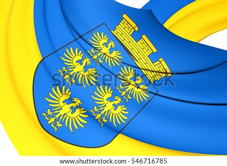 3D Flag of Lower Austria. 3D Illustration.