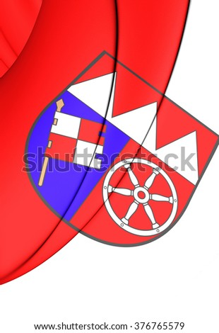 3D Flag of Lower Franconia (Unterfranken), Germany.      - stock photo