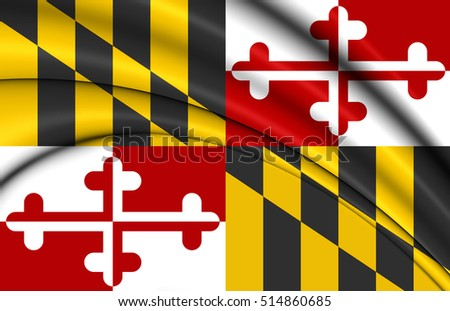 3D Flag of Maryland, USA. 3D Illustration.