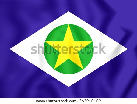 3D Flag of Mato Grosso, Brazil. Close Up. - stock photo