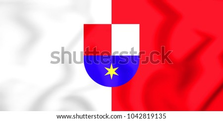 3D Flag of Medimurje County, Croatia. 3D Illustration.