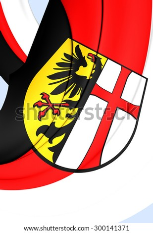3D Flag of Memmingen City, Germany. Close Up. - stock photo