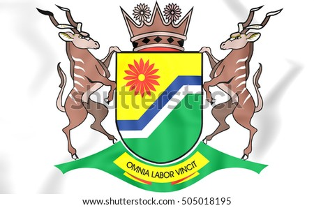 3D Flag of Mpumalanga Province, South Africa. 3D Illustration.