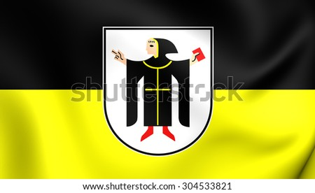 3D Flag of Munchen City, Germany. Close Up.    - stock photo