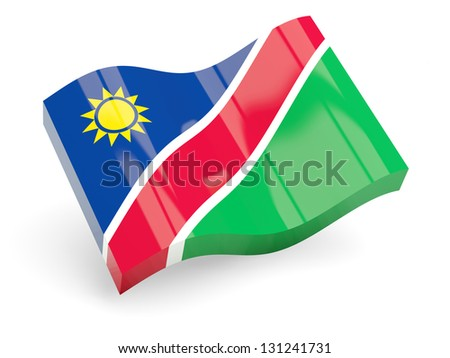 3d flag of namibia isolated on white