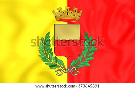 3D Flag of Naples, Italy. Close Up. - stock photo