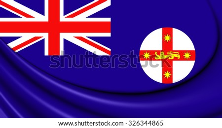 3D Flag of New South Wales, Australia. Close Up. - stock photo