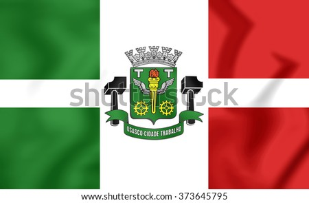 3D Flag of Osasco (Sao Paulo State), Brazil.   - stock photo