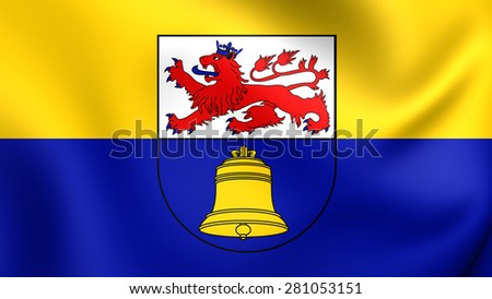 3D Flag of Overath, Germany. Close Up.    - stock photo
