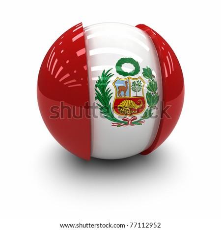 3d Flag of Peru. - stock photo