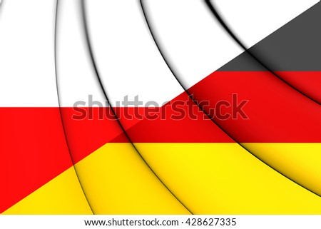 3D Flag of Poland and Germany. Close Up.   - stock photo