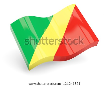 3d flag of republic of the congo isolated on white