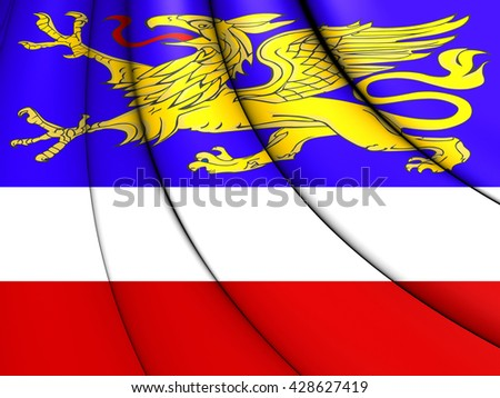 3D Flag of Rostock, Germany. Close Up.    - stock photo