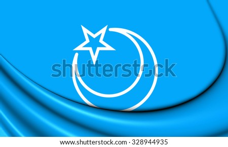 3D Flag of Second East Turkestan Republic. Close Up.