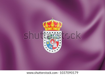 3D Flag of Soria Province, Spain. 3D Illustration.
