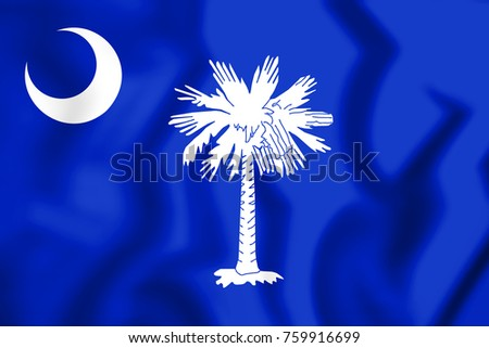 3D Flag of South Carolina, USA. 3D Illustration.