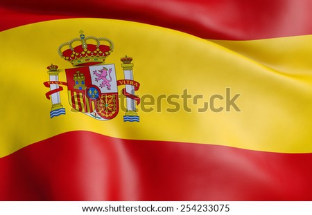 3D flag of Spain - stock photo