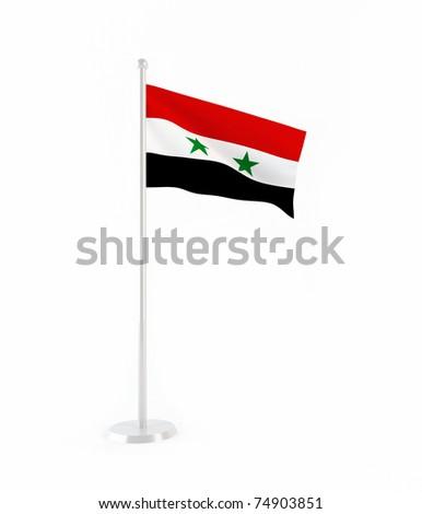 3D flag of Syria - stock photo