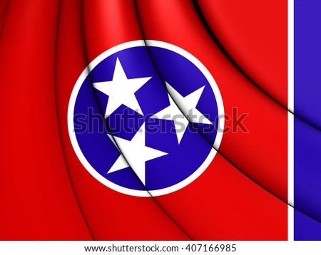3D Flag of Tennessee, USA. Close Up.   - stock photo
