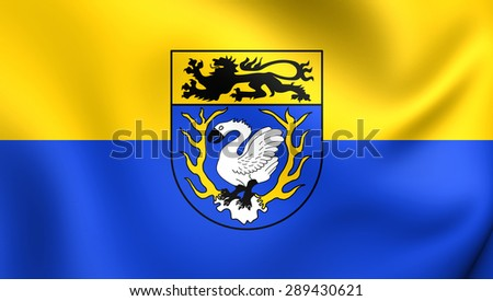 3D Flag of the Aachen District, Germany. Close Up.    - stock photo