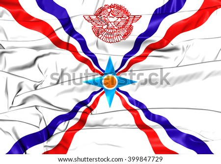 3D Flag of the Assyria. Close Up. - stock photo