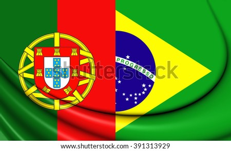 3D Flag of the Brazil and Portugal.   - stock photo