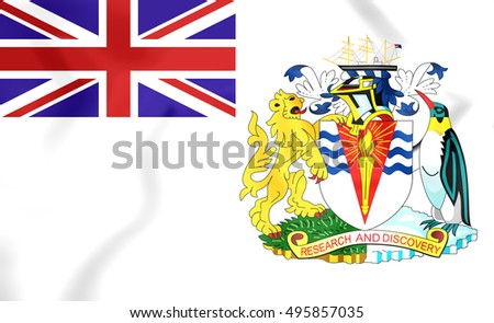 3D Flag of the British Antarctic Territory. 3D Illustration.