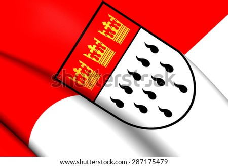 3D Flag of the Cologne, Germany. Close Up. - stock photo