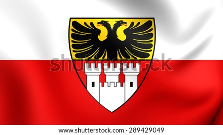 3D Flag of the Duisburg, Germany. Close Up. - stock photo