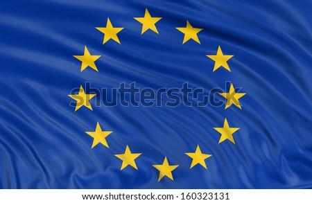 3D flag of the European union - stock photo