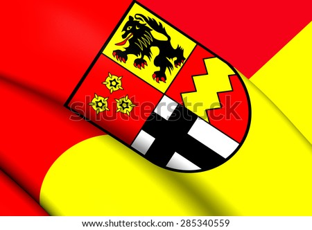 3D Flag of the Euskirchen, Germany. Close Up. - stock photo