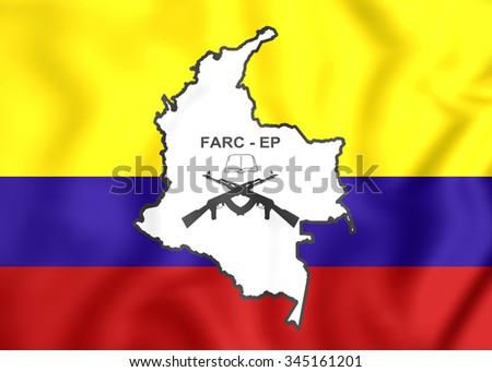 3D Flag of the FARC-EP.   - stock photo