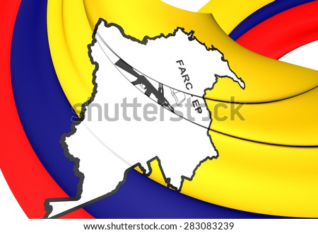 3D Flag of the FARC-EP. Close Up.    - stock photo