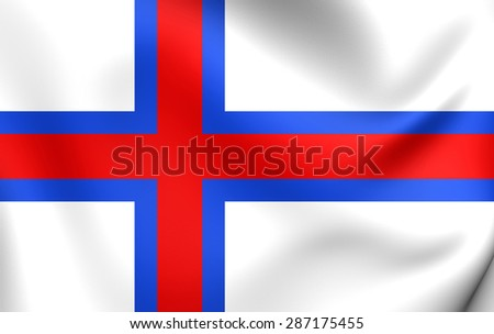 3D Flag of the Faroe Islands. Close Up.
