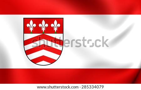 3D Flag of the Halle (Westfalen), Germany. Close Up.    - stock photo