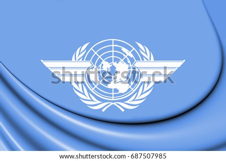 3D Flag of the ICAO. 3D Illustration.