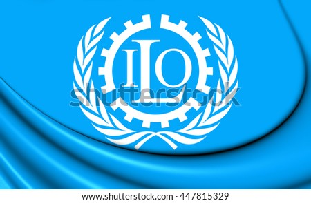 3D Flag of the ILO. Close Up.