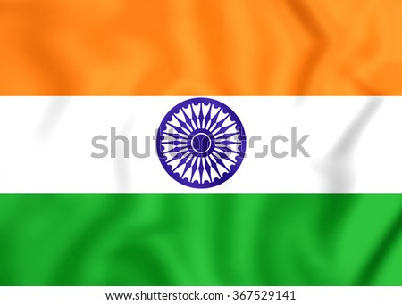 3D Flag of the India. Close Up.