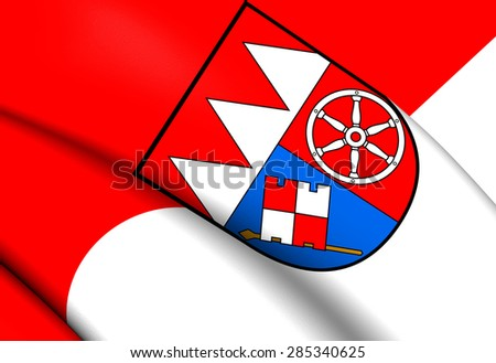 3D Flag of the Lower Franconia, Germany. Close Up. - stock photo