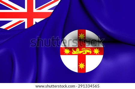 3D Flag of the New South Wales, Australia. Close Up. - stock photo
