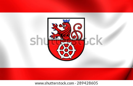 3D Flag of the Ratingen, Germany. Close Up.    - stock photo