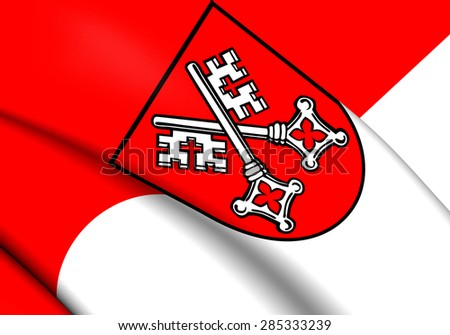 3D Flag of the Regensburg, Germany. Close Up. - stock photo