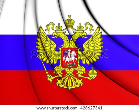 3D Flag of the Russia. Close Up.