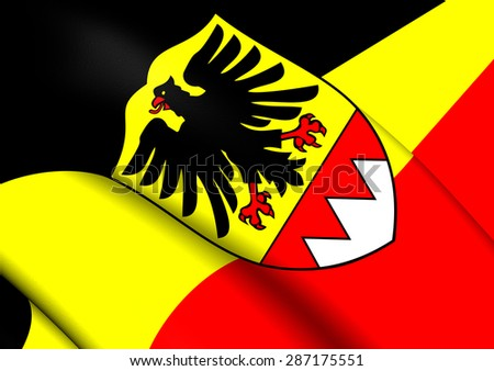 3D Flag of the Schweinfurt, Germany. Close Up. - stock photo