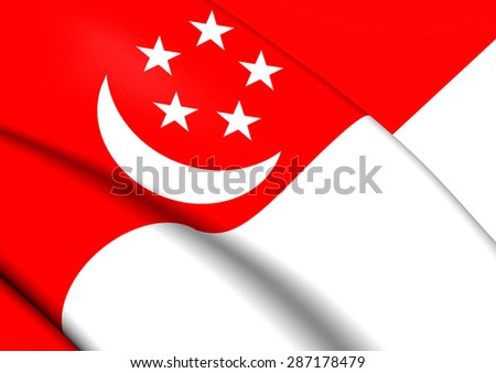 3D Flag of the Singapore. Close Up. - stock photo