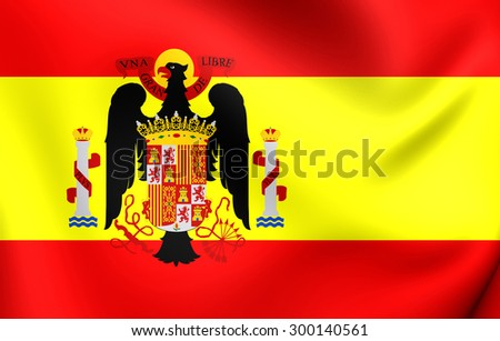 3D Flag of the Spain (1945-1977). Close Up.    - stock photo