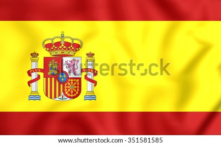 3D Flag of the Spain. Close Up.    - stock photo