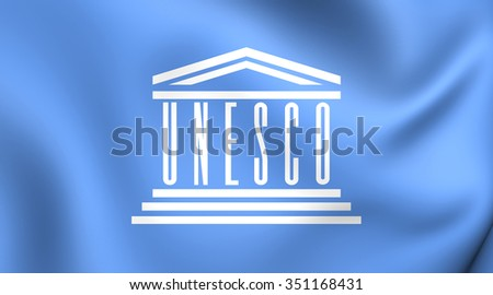3D Flag of the UNESCO. Close Up.