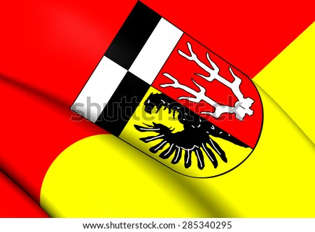 3D Flag of the Wunsiedel im Fichtelgebirge, Germany. Close Up. - stock photo