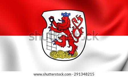 3D Flag of the Wuppertal, Germany. Close Up.    - stock photo
